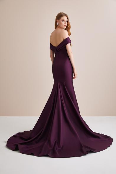 Viola Chan - Kayık Yaka Saten Uzun Abiye Elbise (1)