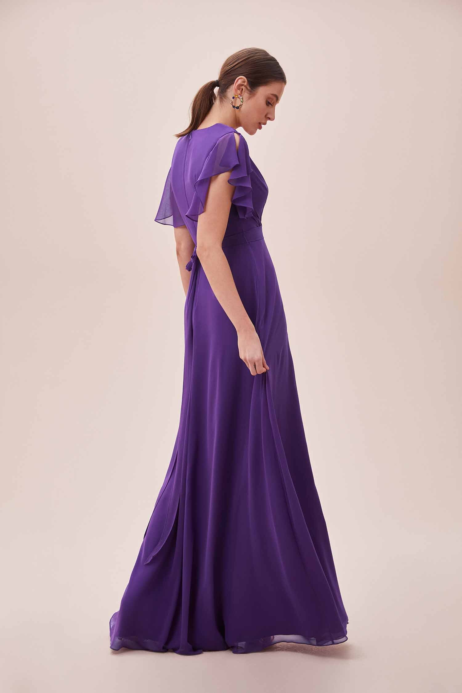 Mor Kruvaze Yaka Kısa Fırfır Kollu Uzun Elbise - Thumbnail
