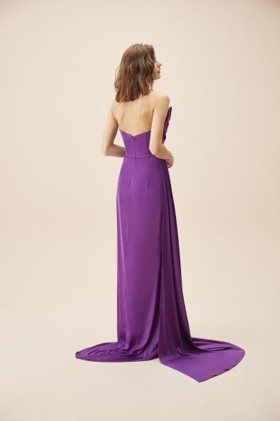 Alfa Beta - Mor Straplez Yırtmaçlı Saten Uzun Abiye Elbise (1)