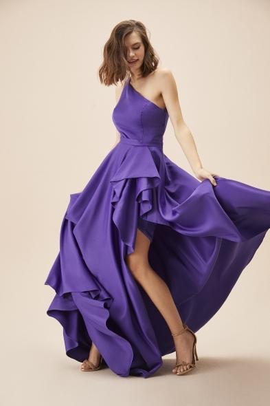 Viola Chan - Mor Tek Omuz Yırtmaçlı Saten Elbise
