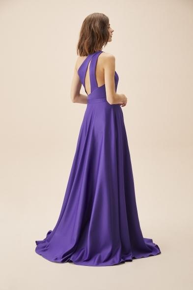 Viola Chan - Mor Tek Omuz Yırtmaçlı Saten Elbise (1)