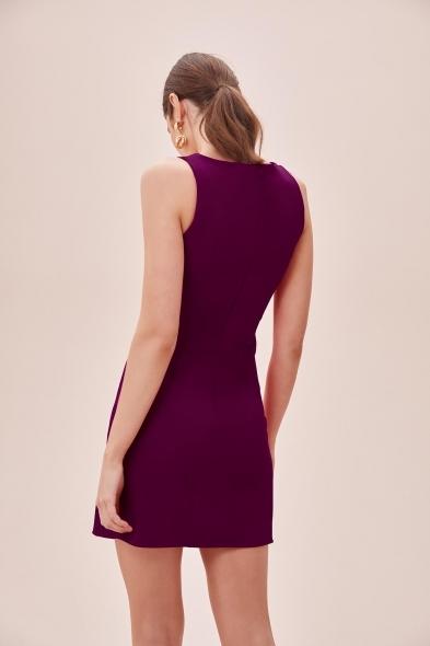 OLEG CASSINI TR - Mürdüm Askılı Kare Yaka Mini Krep Elbise (1)