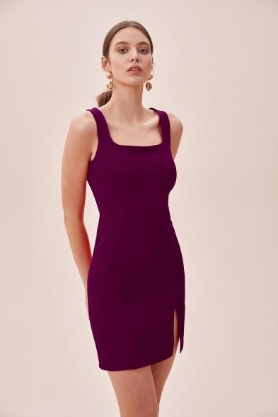 OLEG CASSINI TR - Mürdüm Askılı Kare Yaka Mini Krep Elbise