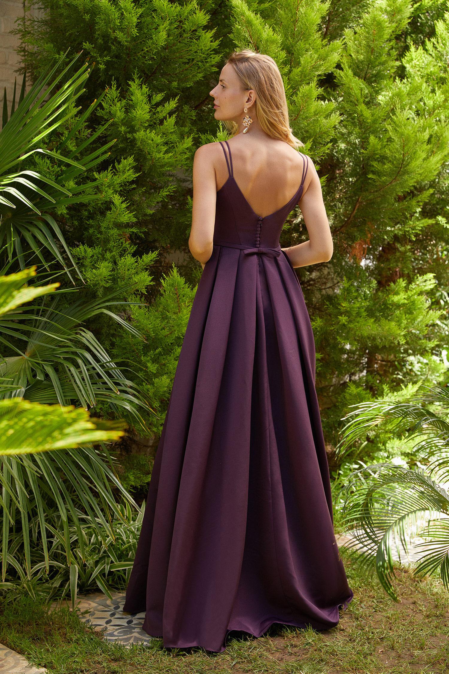Mürdüm İnce Askılı Pile Etekli Uzun Elbise - Thumbnail