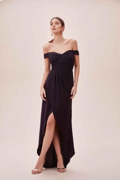 OLEG CASSINI TR - Mürdüm Rengi Düşük Omuzlu Yırtmaçlı Uzun Şifon Elbise (1)