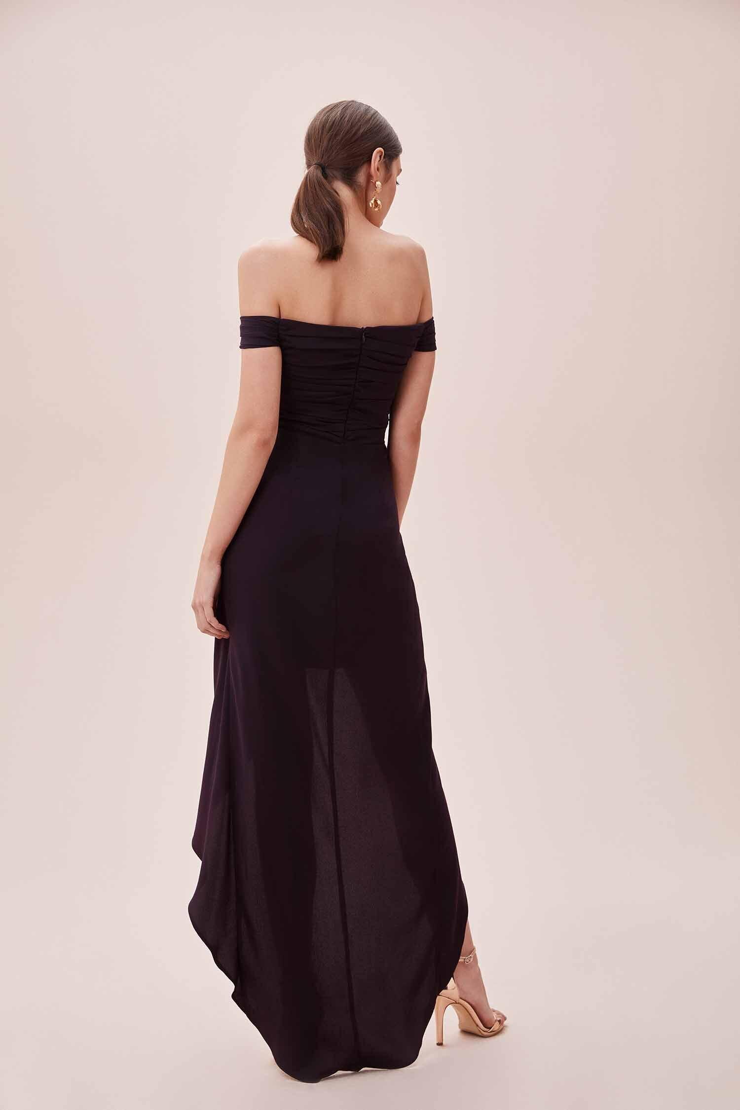 Mürdüm Rengi Düşük Omuzlu Yırtmaçlı Uzun Şifon Elbise - Thumbnail