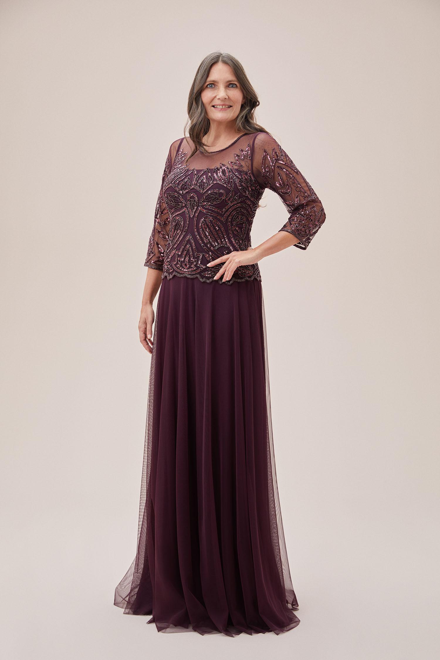 Mürdüm Rengi Pul İşlemeli Uzun Kollu Abiye Elbise - Thumbnail