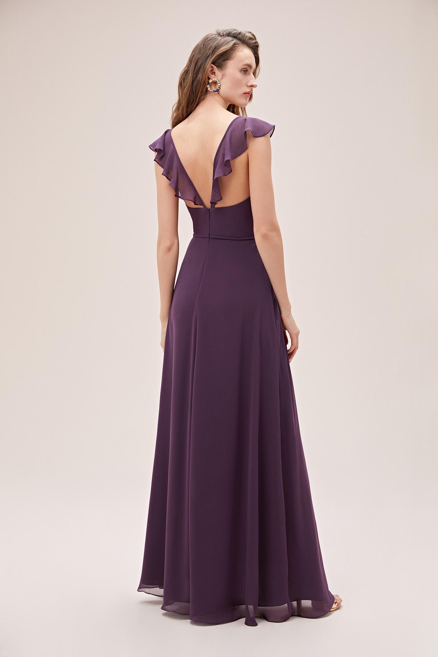 Mürdüm Yırtmaçlı Şifon Drapeli Elbise - Thumbnail