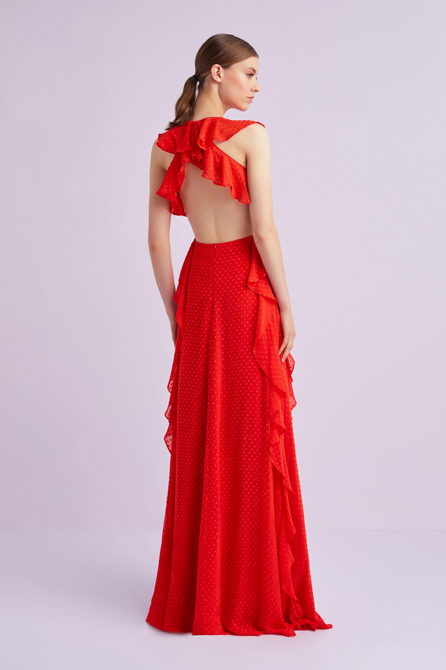 Nar Kırmızısı Askılı Sırt Dekolteli Fırfırlı Şifon Abiye Elbise - Thumbnail
