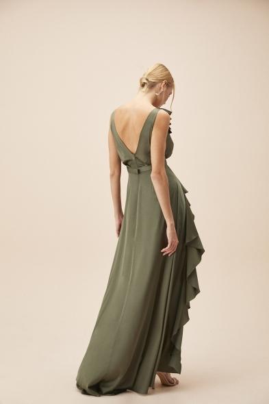 Alfa Beta - Nefti Kalın Askılı Fırfırlı Saten Uzun Elbise (1)