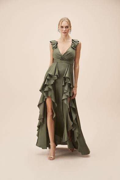 Alfa Beta - Nefti Kalın Askılı Fırfırlı Saten Uzun Elbise