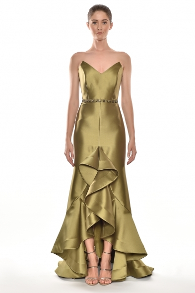 Alfa Beta - Nefti Rengi Straplez V Yaka Volanlı Uzun Tafta Elbise