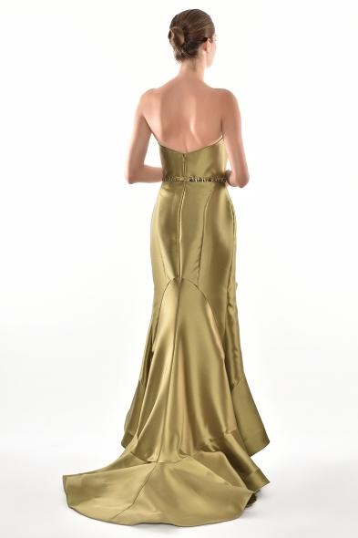 Alfa Beta - Nefti Rengi Straplez V Yaka Volanlı Uzun Tafta Elbise (1)