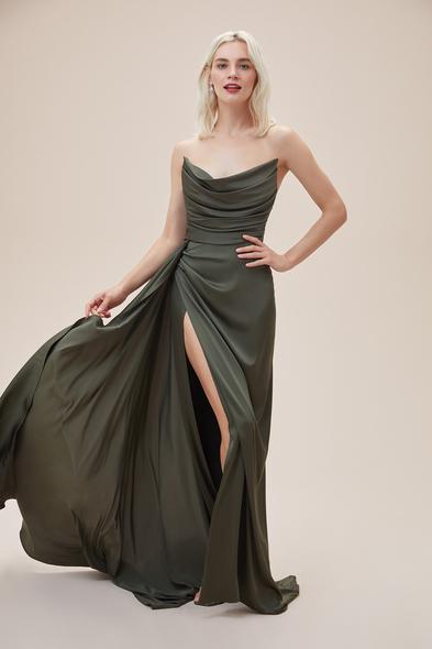 Alfa Beta - Nefti Rengi Straplez Yırtmaçlı Saten Uzun Abiye Elbise