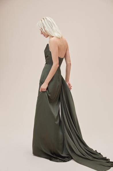 Alfa Beta - Nefti Rengi Straplez Yırtmaçlı Saten Uzun Abiye Elbise (1)