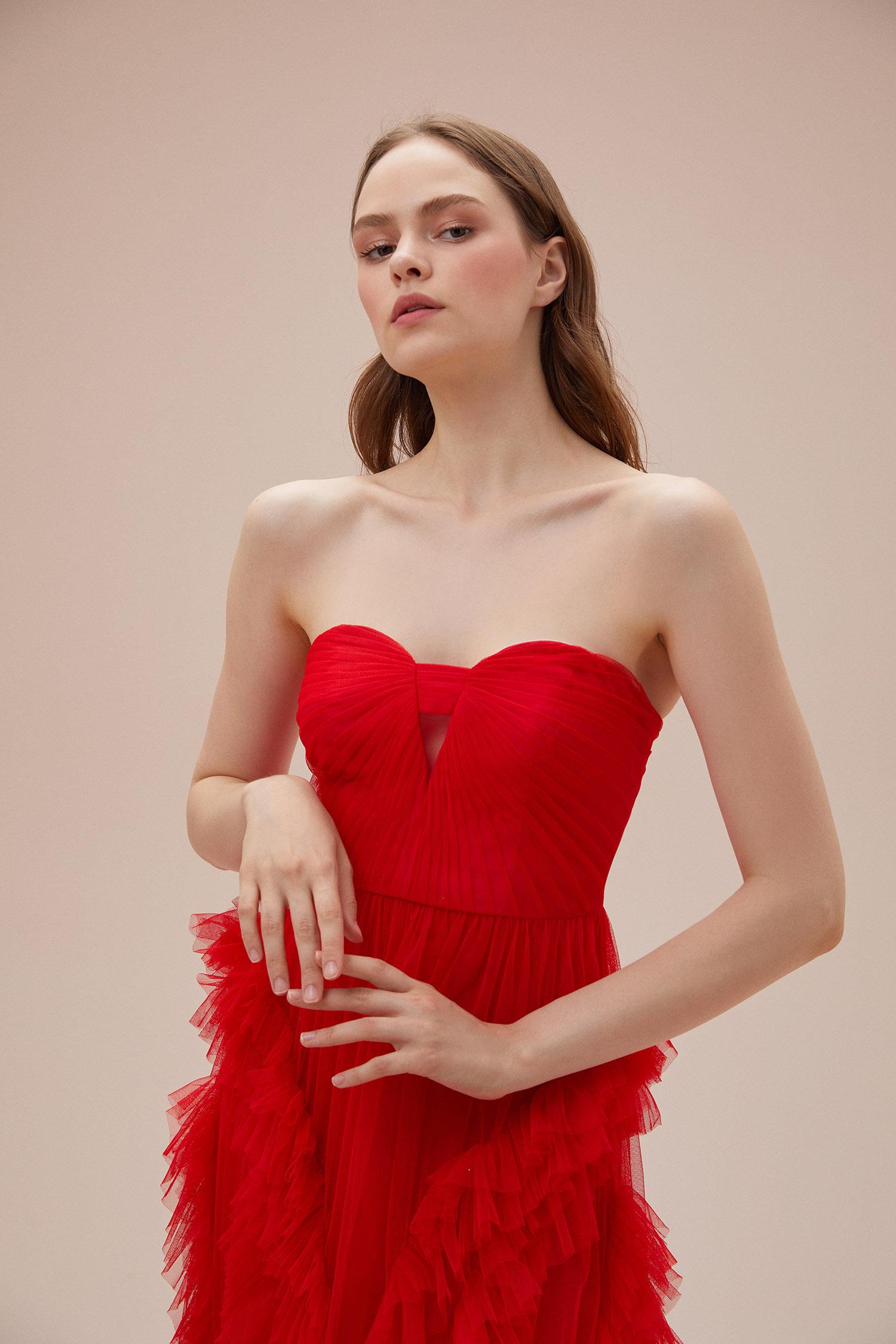 Neon Kırmızı Kalp Yaka Tül Uzun Abiye Elbise - Thumbnail