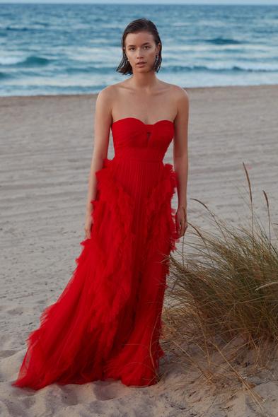 VC by Viola Chan - Neon Kırmızı Kalp Yaka Tül Uzun Abiye Elbise