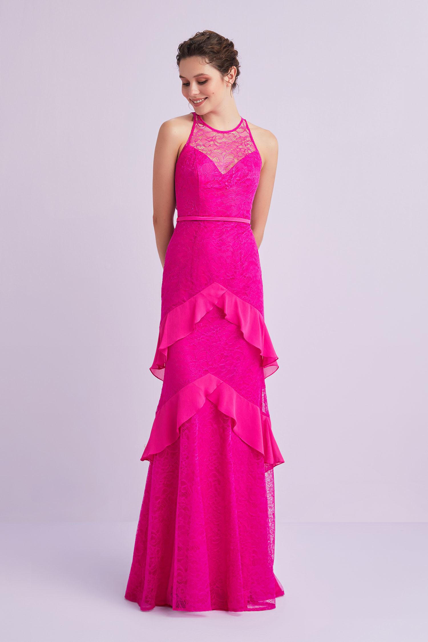 Neon Pembe İllüzyon Halter Yaka Uzun Abiye Elbise - Thumbnail