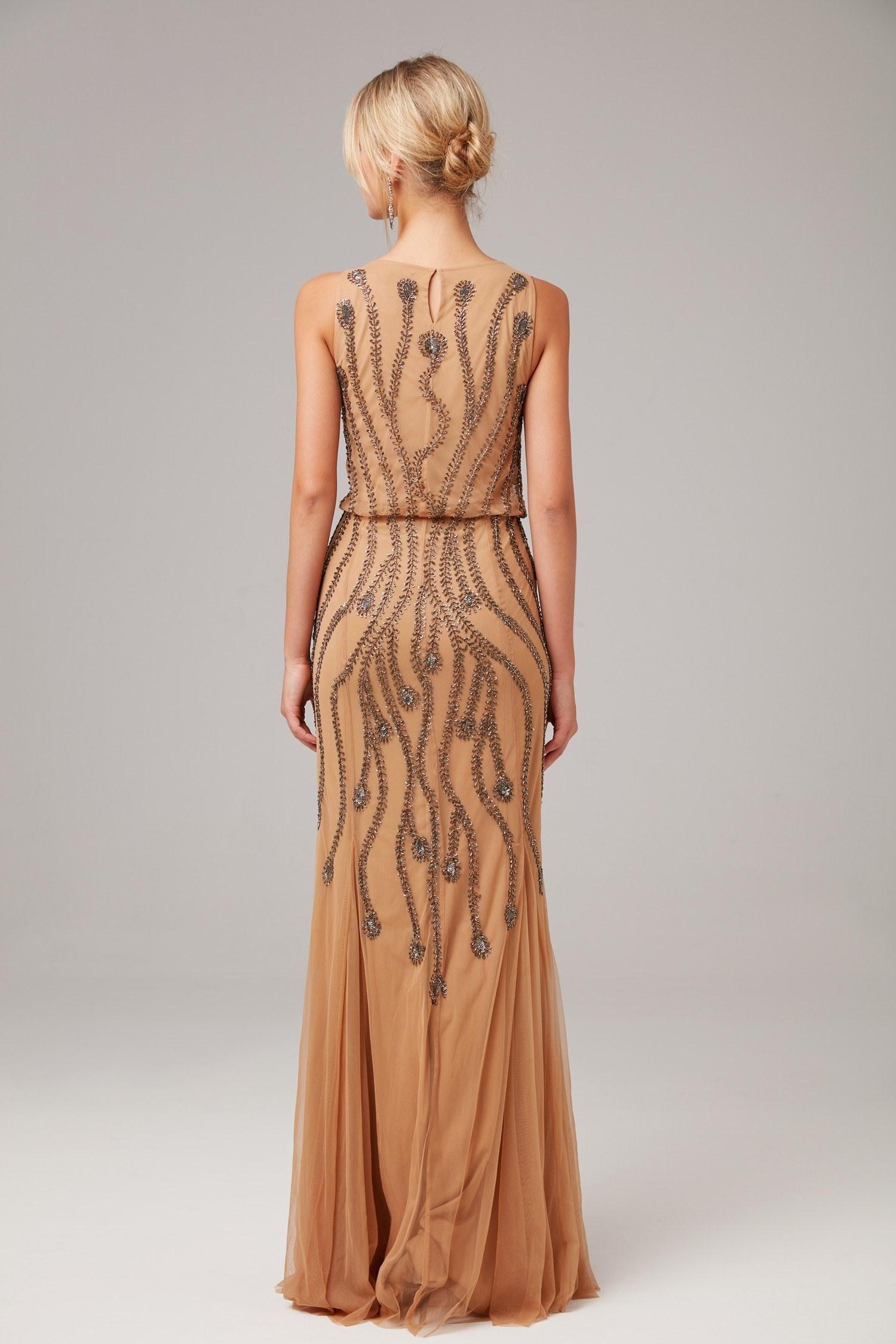 Nude Askılı Payet İşlemeli Uzun Abiye Elbise - Thumbnail