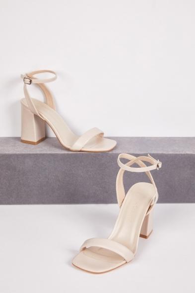 OLEG CASSINI TR - Nude İnce Bantlı Kalın Topuklu Abiye Ayakkabısı