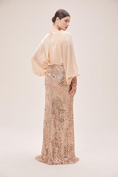 Oleg Cassini - Nude Uzun Karpuz Kollu Payetli Şifon Uzun Abiye Elbise (1)
