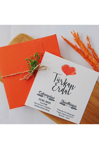 Bridalook - Orange Flowers Davetiye