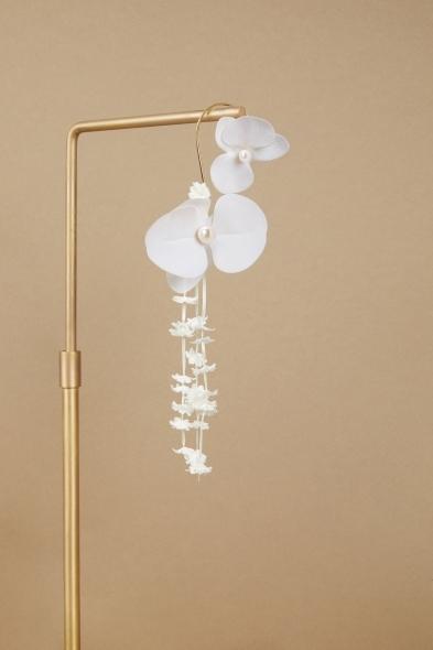Saara İstanbul - Orchid Orkide Çiçek Motifli Büyük Sarkık Küpe (1)