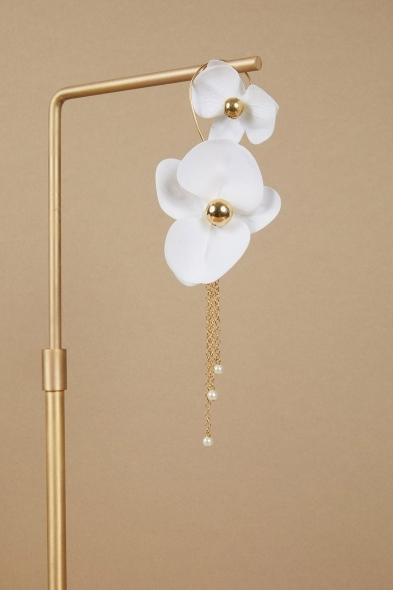 Saara İstanbul - Orchid Orkide Çiçekli Altın Kaplama Küpe