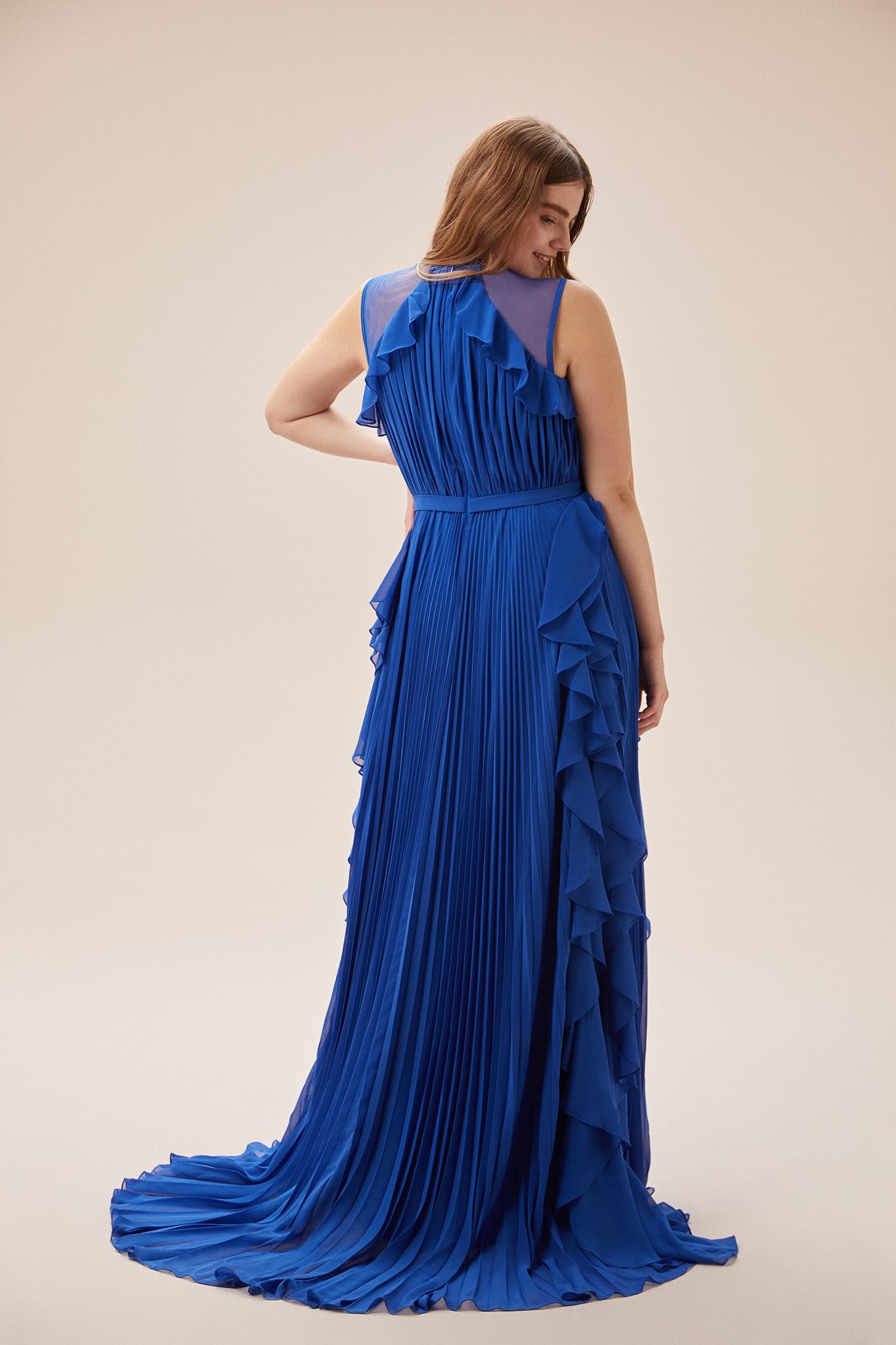 Viola Chan - Parlament Mavisi Kolsuz Fırfırlı Şifon Uzun Büyük Beden Elbise (1)