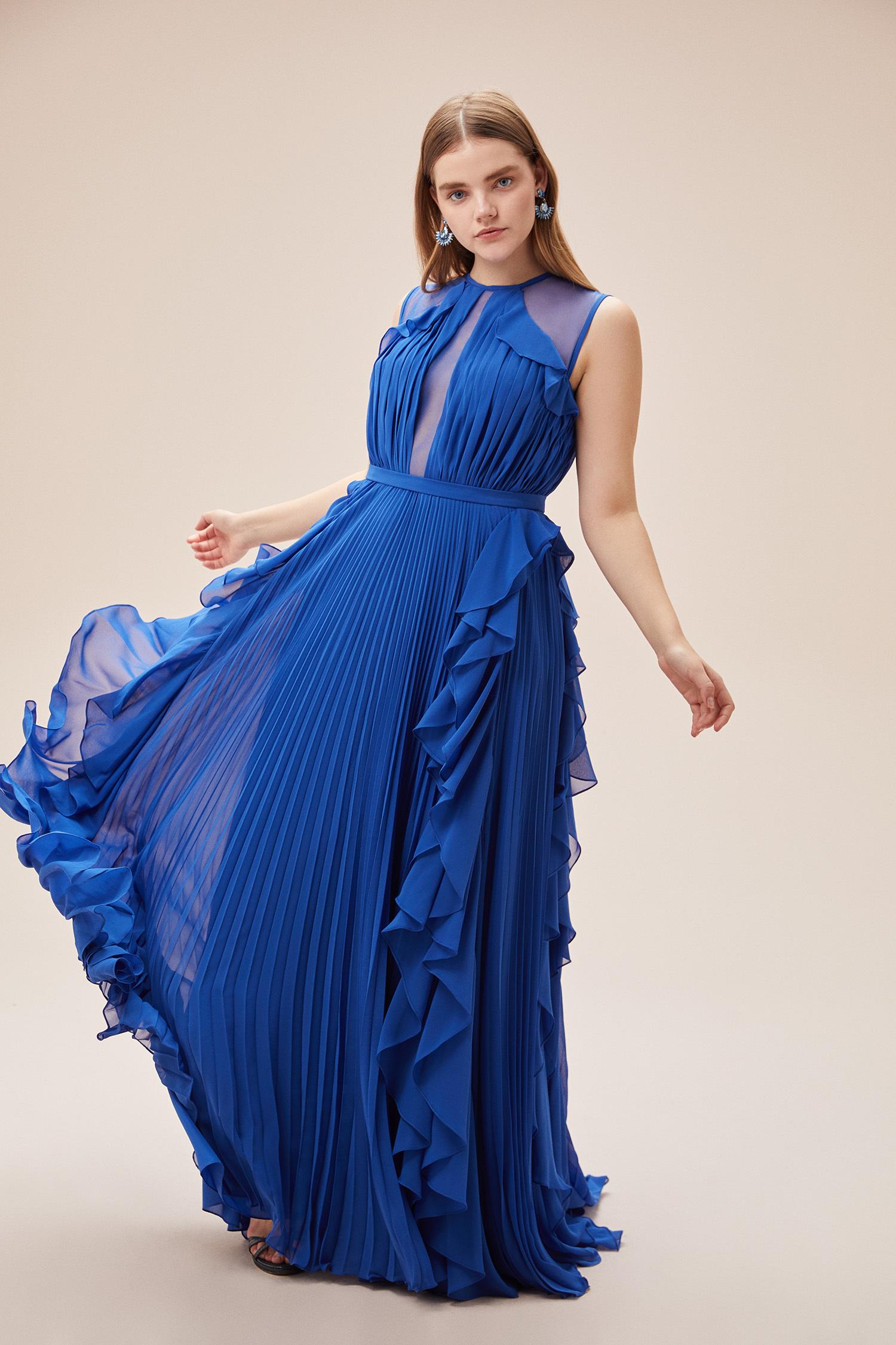 Viola Chan - Parlament Mavisi Kolsuz Fırfırlı Şifon Uzun Büyük Beden Elbise