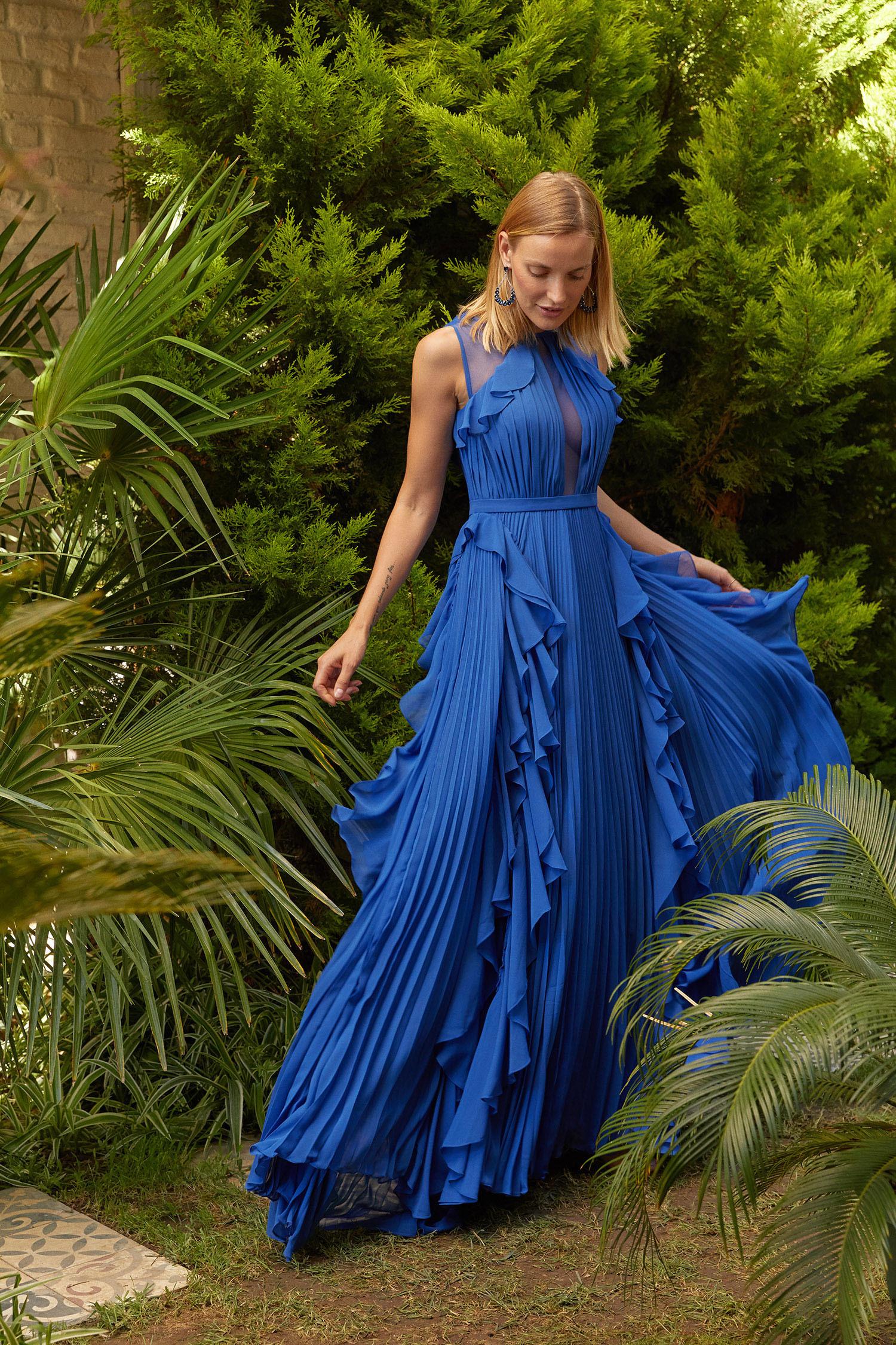 Parlament Mavisi Kolsuz Fırfırlı Şifon Uzun Elbise - Thumbnail
