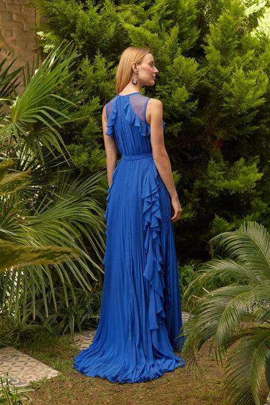 Viola Chan - Parlament Mavisi Kolsuz Fırfırlı Şifon Uzun Elbise (1)