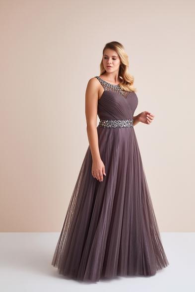 Viola Chan - Pastel Mor Askılı Taş İşlemeli Uzun Tül Etekli Büyük Beden Abiye Elbise (1)