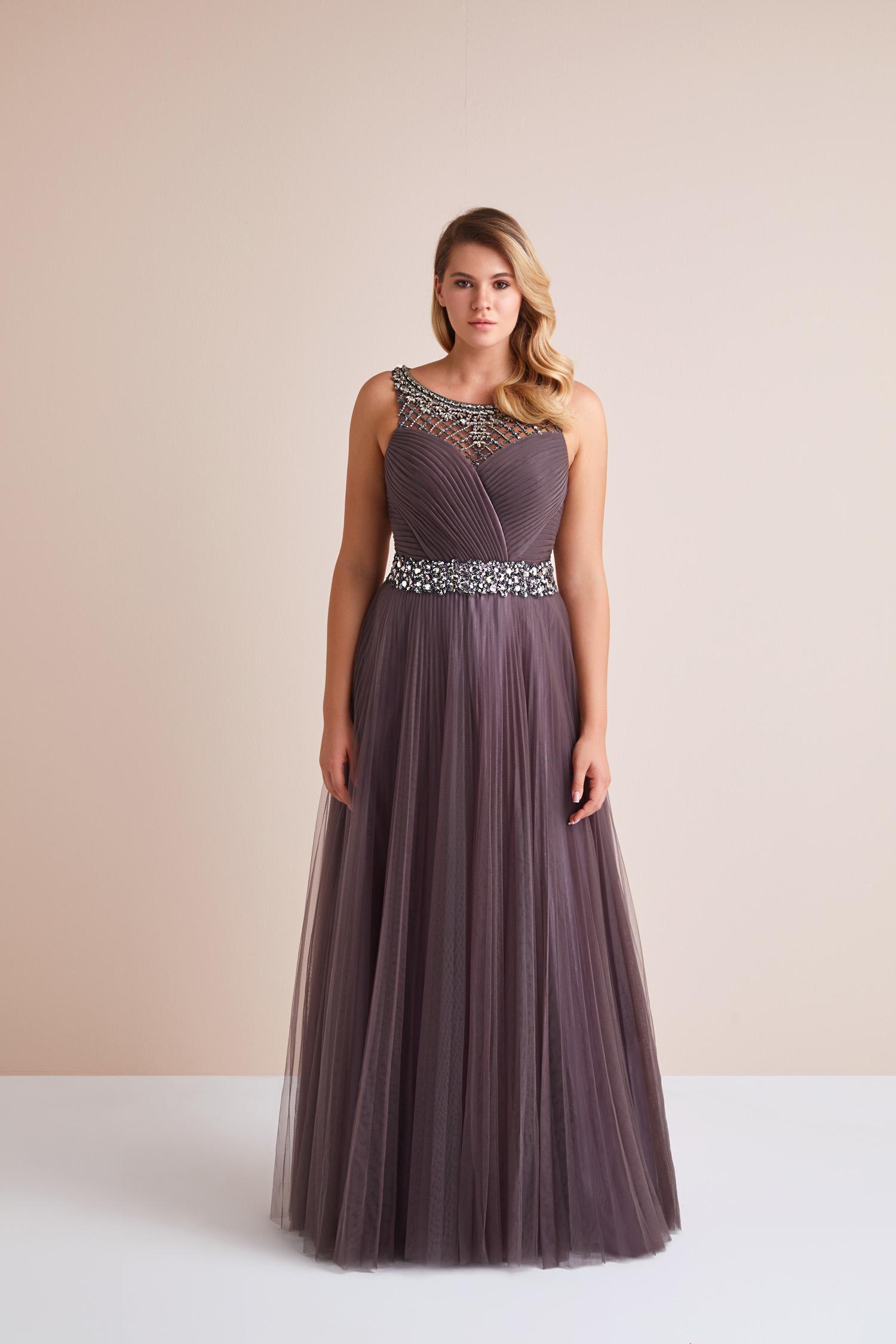 Pastel Mor Askılı Taş İşlemeli Uzun Tül Etekli Büyük Beden Abiye Elbise - Thumbnail