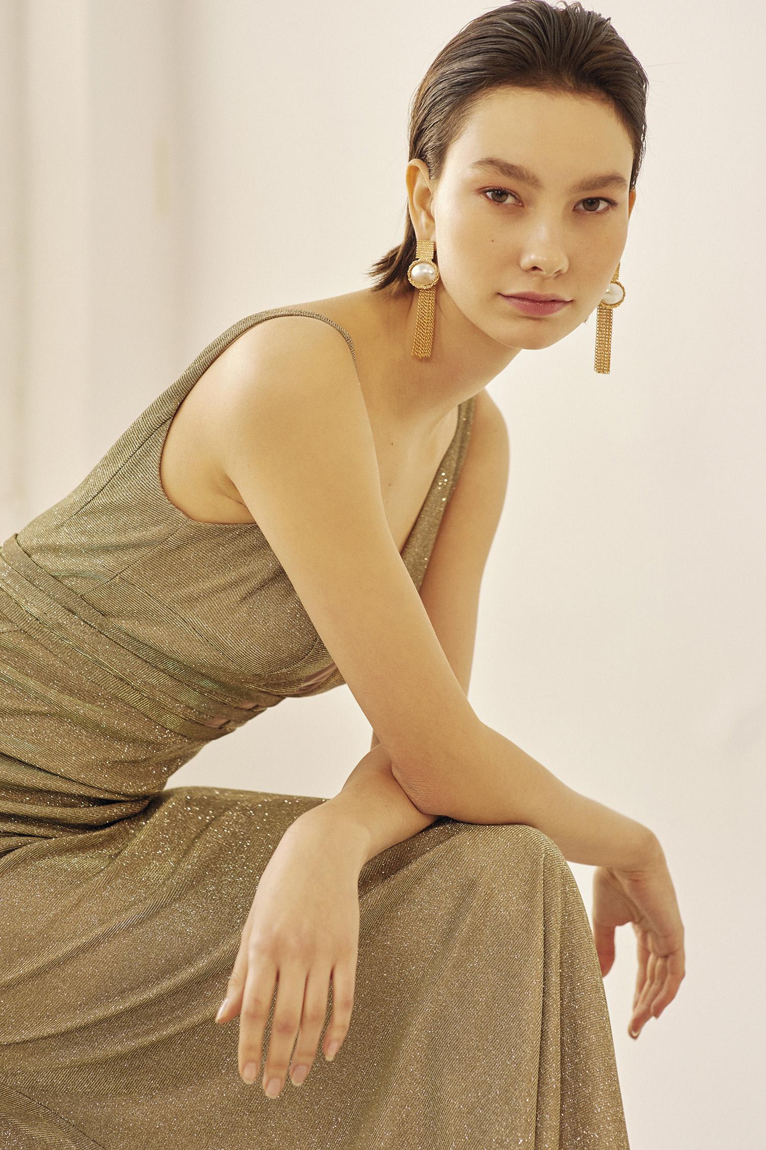 Payet İşlemeli Gold Rengi Elbise - Thumbnail
