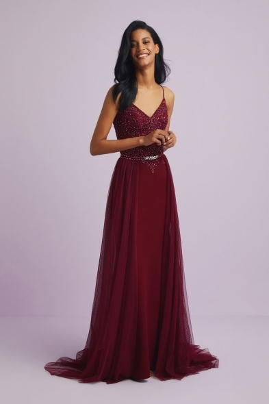 Viola Chan - Payet İşlemeli Tül Etekli İnce Askılı Abiye Elbise