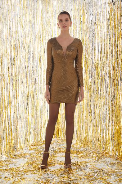 Payetli Uzun Kollu Altın Rengi Mini Elbise - Oleg Cassini
