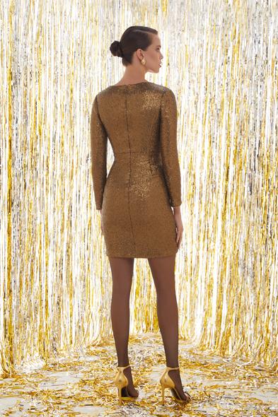 Payetli Uzun Kollu Altın Rengi Mini Elbise