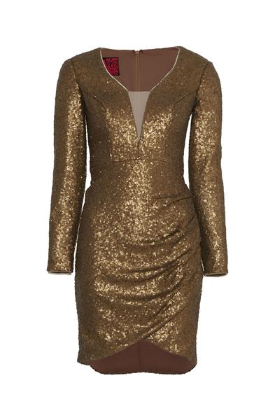 VC by Viola Chan - Payetli Uzun Kollu Altın Rengi Mini Elbise