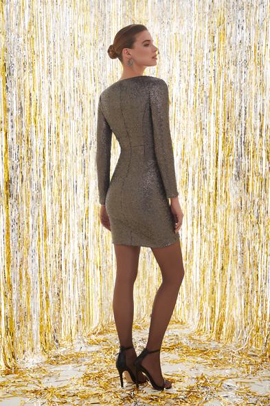 Payetli Uzun Kollu Gri Renk Mini Elbise
