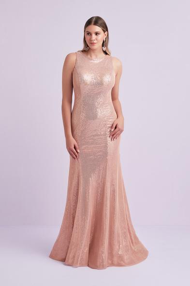 Viola Chan - Pembe Altın Rengi Askılı Payet İşlemeli Büyük Beden Uzun Elbise