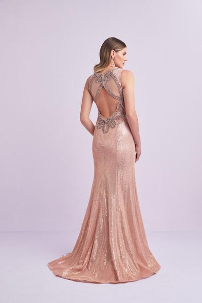 Viola Chan - Pembe Altın Rengi Askılı Payet İşlemeli Büyük Beden Uzun Elbise (1)