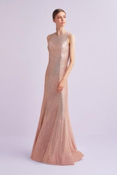 Viola Chan - Pembe Kolsuz Payetli Uzun Abiye Elbise