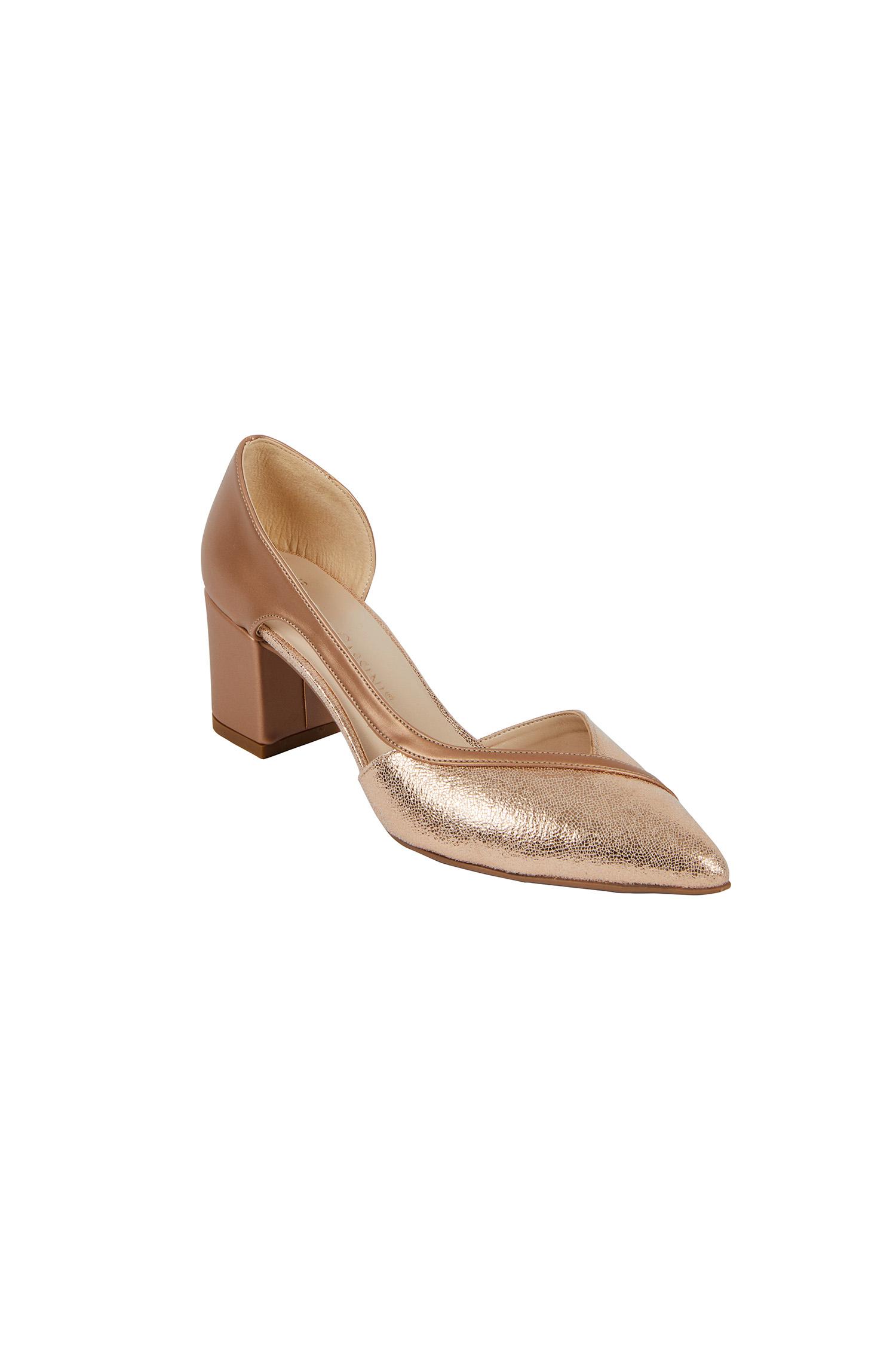 Pembe Altın Rengi Topuklu Abiye Ayakkabı