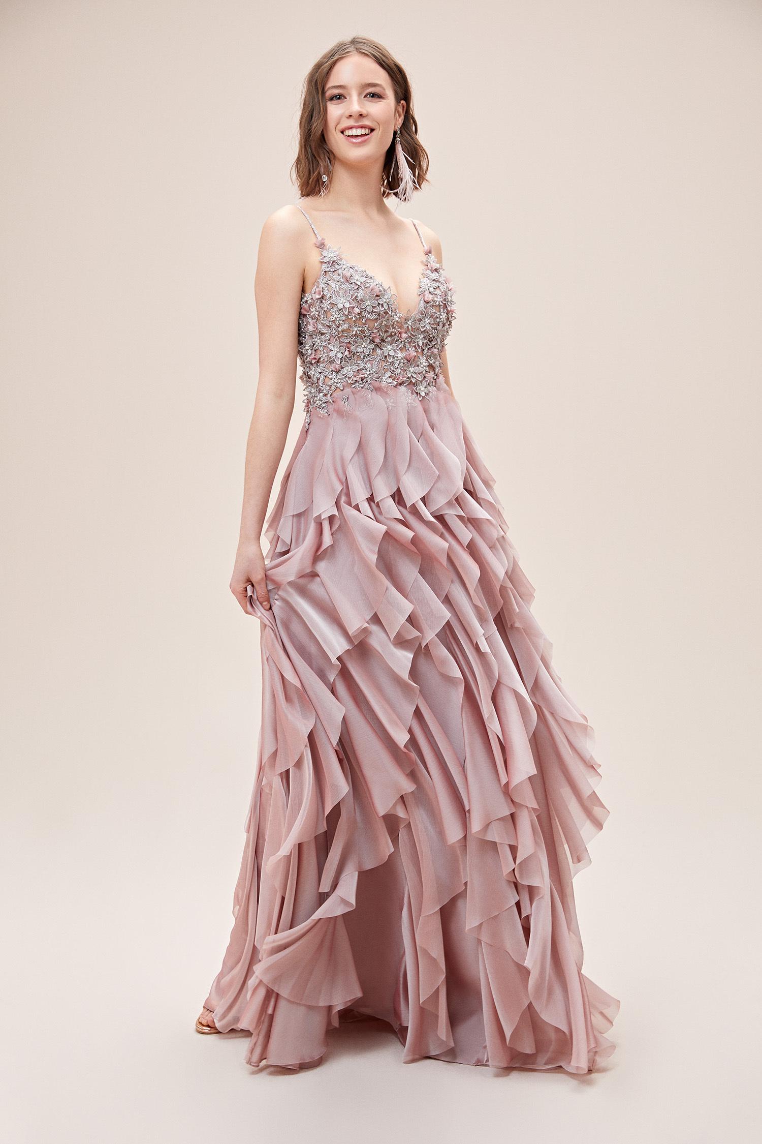 Pembe Askılı Çiçek İşlemeli Fırfırlı Uzun Abiye Elbise - Thumbnail