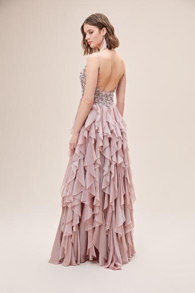 Alfa Beta - Pembe Askılı Çiçek İşlemeli Fırfırlı Uzun Abiye Elbise (1)