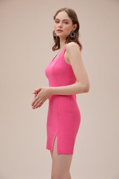 OLEG CASSINI TR - Pembe Askılı Kare Yaka Mini Krep Elbise