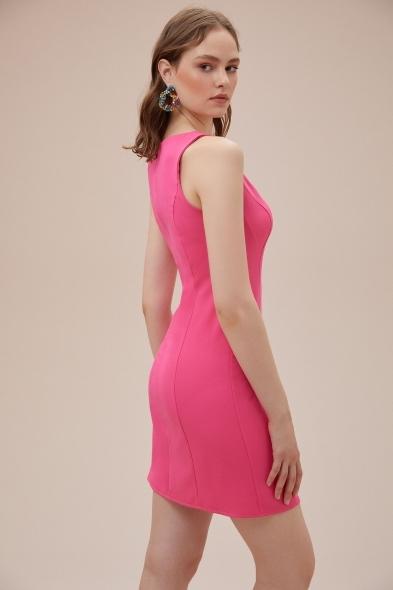 OLEG CASSINI TR - Pembe Askılı Kare Yaka Mini Krep Elbise (1)