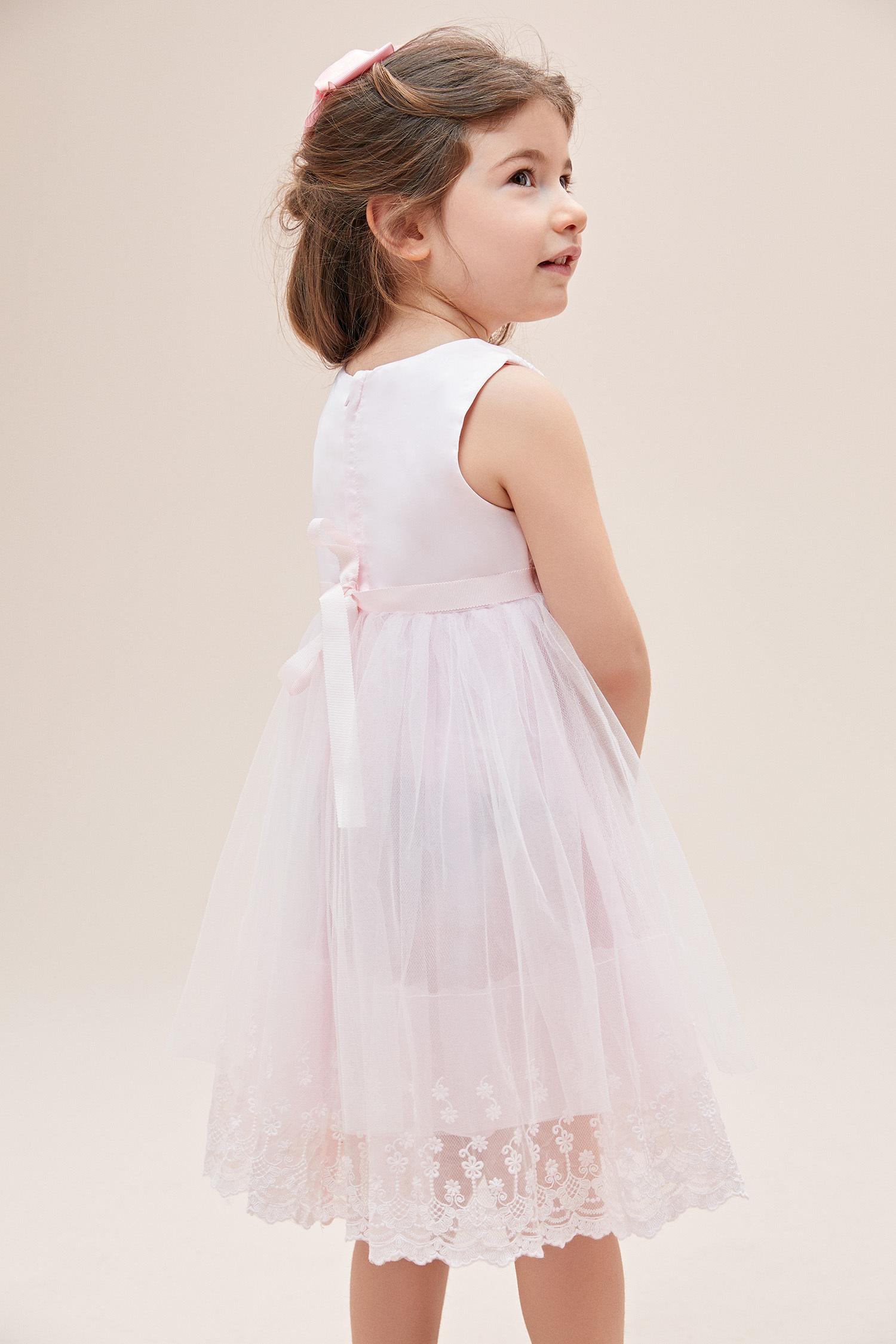 Pembe Askılı Tül Etekli Çocuk Elbisesi - Thumbnail