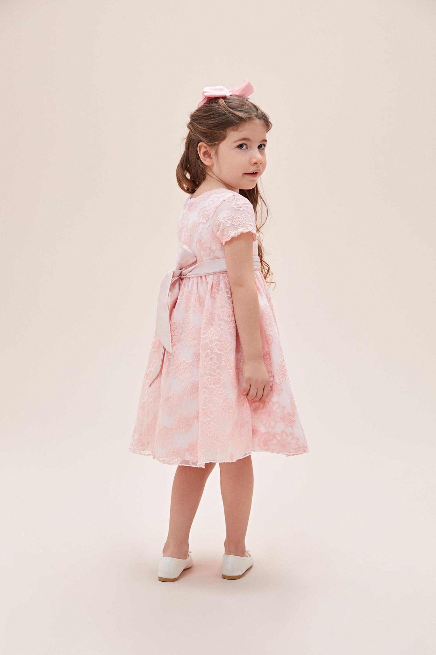 Pembe Dantel İşlemeli Kısa Kollu Fiyonklu Çocuk Elbisesi - Thumbnail